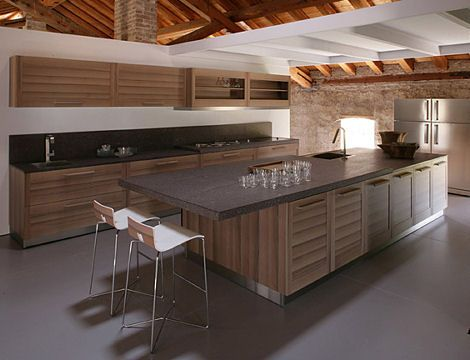 Contemporary modern kitchen, rustic elements.  Warm contemporary kitchens - Google Search