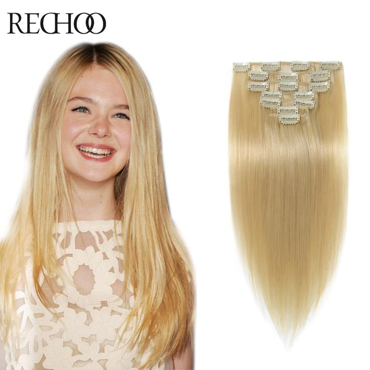 "20"" 24# Blonde 100g Brazilian Remy Clip In On Human Hair 100% Remi Hair Straight Full Head Thick Clip In Hair Extensions"