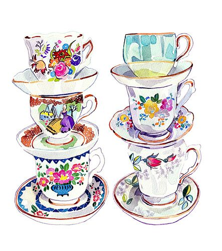teacupsVintage Teacups, Teacups Collection, Teas Time, Teas Cups, Illustration, Vintage Teas, Holly Exley, Tea Cups, Teas Parties