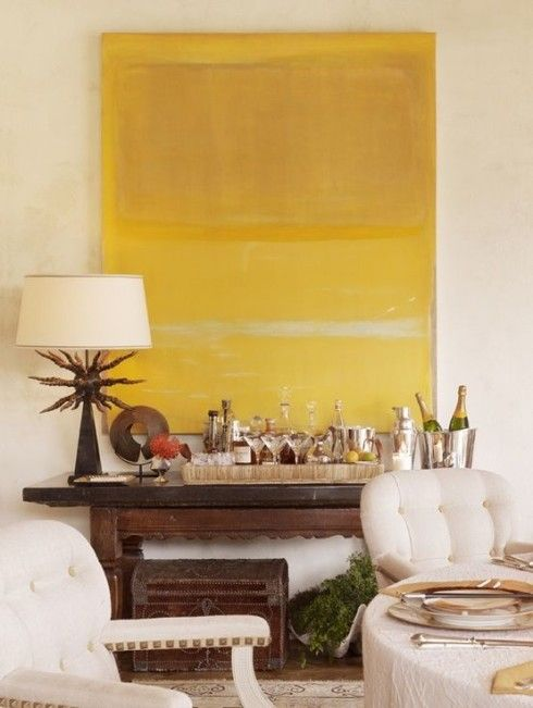 Albert Hadley.....I love the yellow color field and that strange lamp