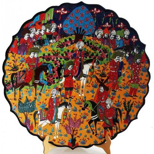 30 CM MİNYATÜR ÇİNİ TABAK Minyatür Osmanlı - Sanatkardan