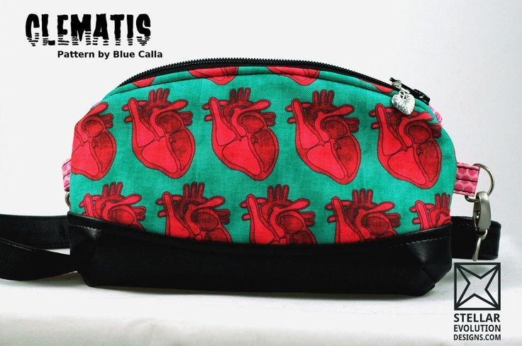Clematis Cross Body Bag - Pink & Teal Anatomical Hearts-by Stellar Evolution Designs - great gift - Meet the Pink & Teal Anatomical Hearts Cross Body Clematis! She is a purse that can be used for a variety of occasions and purposes. The outer fabric features a graphic teal and pink anatomical hearts pattern any medical student, nurse or horror fan would find beautiful.