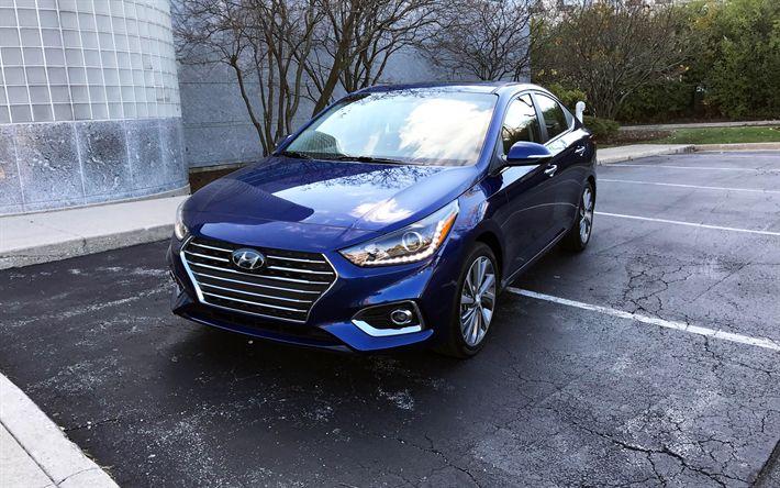 Télécharger fonds d'écran Hyundai Accent, 2018, 4k, bleu nouveau l'Accent, berline, vue de face, de nouvelles voitures, Hyundai