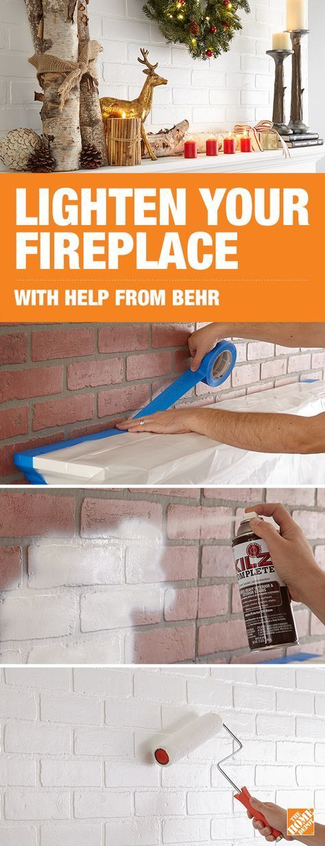Lighten and brighten your brick fireplace with white paint for a modern look that shines year round. Add chic decor that fits the season to complete your DIY project. Click to get the how-to with help from BEHR paint on our blog.