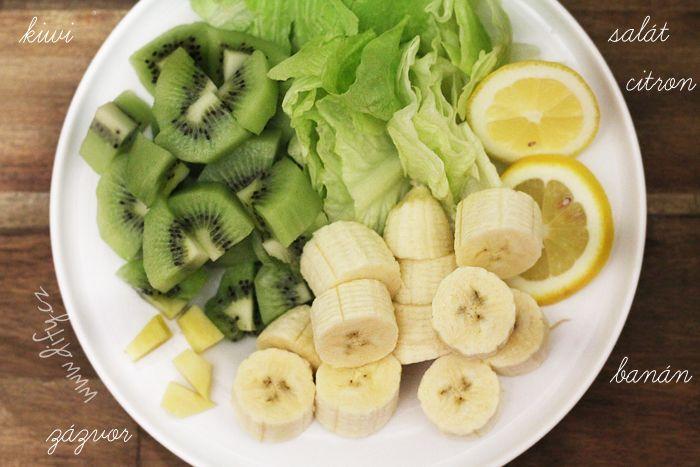 Recept na smoothie z kiwi, banánu a římského salátu se zázvorem