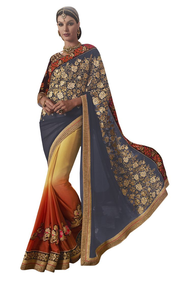 Buy Now Multicolour Shaded Fancy Embroidery Georgette Half-Half Wedding Wear Saree only at Lalgulal.com Price :- 3,832/- inr. To Order :- http://goo.gl/xV4nDn COD & Free Shipping Available only in India