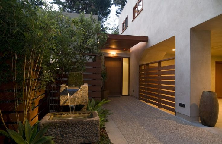 los angeles horizontal wood fence with pine front doors entry asian and slat inviting