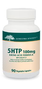 5HTP 500 by Genestra. 5-Hydroxytryptophan (5-HTP) is the direct precursor of serotonin, supplied in  5HTP 100 mg, is derived from the Griffonia simplicifolia plant and is presented  in vegetable-sourced capsules format. 5HTP 100 mg supports healthy mood  balance, helps relieve symptoms of fibromyalgia, supports migraine  prophylaxis, weight management, and is used as a sleep aid.