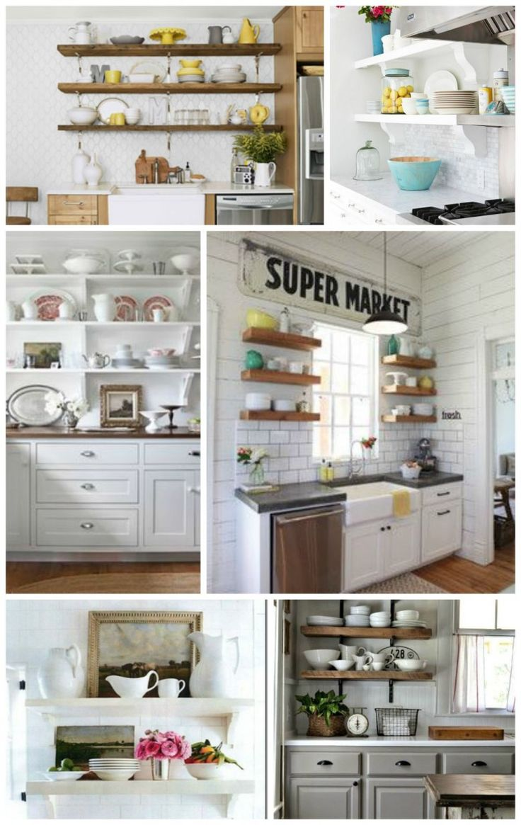Space in the kitchen by adding shelves and glass canisters with seals - Little Cottage Kitchen Dreams