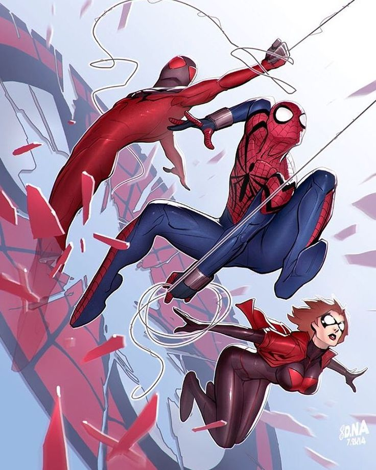 Scarlet Spiders!! Art by David Nakyama #ScarletSpiders #Marvel #MarvelComics #Comics #ConceptArt #Art #Artist #Superhero