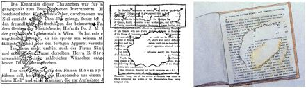 The use of the printed page to reveal the uniformity of migraine scotomas. Left to right: from Jolly (1902); from Gowers (1904); exhibit from the first exhibition of migraine art, from Wilkinson and Robinson, 1985, reproduced with permission of the Migraine Action Association and Boehringer Ingelheim UK Limited.