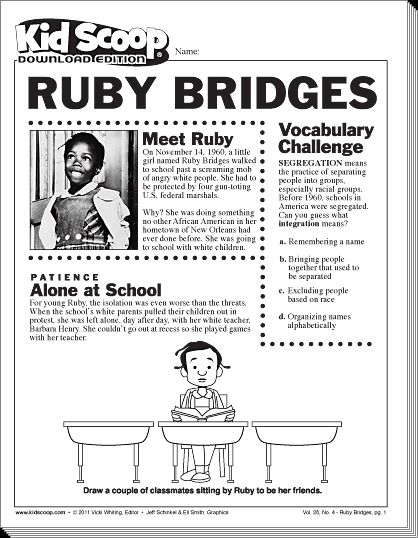 Ruby Bridges Free Coloring Pages