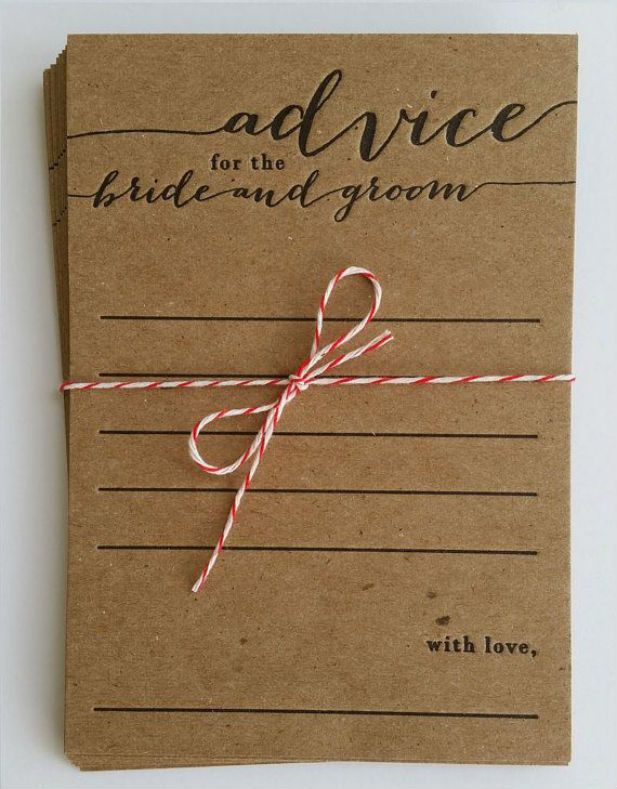Advice for the Bride and Groom cards to put out at your reception