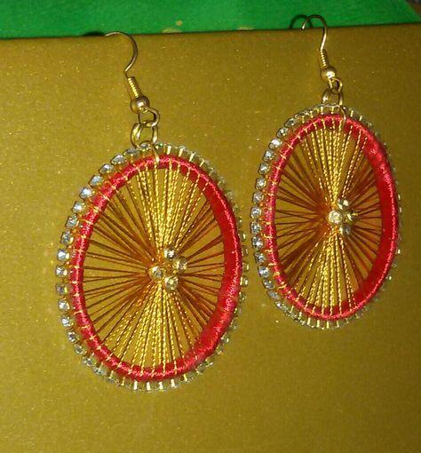 Red And Gold Colour Chakra Wheel Design Silk Thread Earrings Silkthread Handmade Jewellery Diy Unique