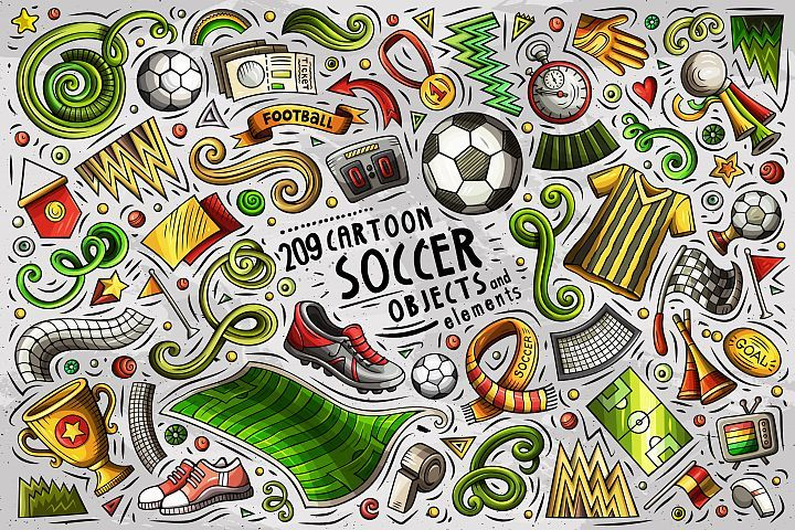 Soccer Cartoon Objects Set 97100 Objects Design Bundles Doodle Cartoon Creative Illustration Doodles