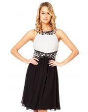 Black And Cream Chiffon Bead Embellished Dress