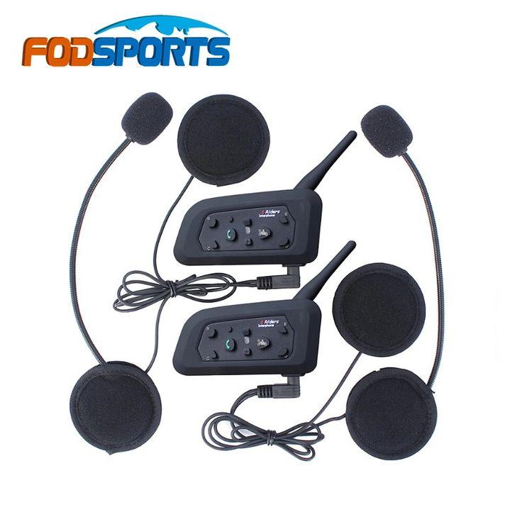 2016 New ! 2 pcs V6 Helmet Intercom 6 Riders 1200M Motorcycle Bluetooth Intercom Headset walkie talkie Helmet BT Interphone