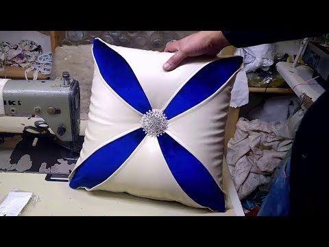 طريقة خياطة مخدة ديكور بالجلد لزينة الصالون المغربي--How to sew a pillow - YouTube