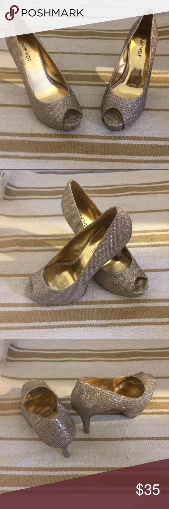 Nine West sparkling gold peep toe heels Super cute peep toe gold sparkle heels. Worn twice. In excellent condition! Nine West Shoes Heels