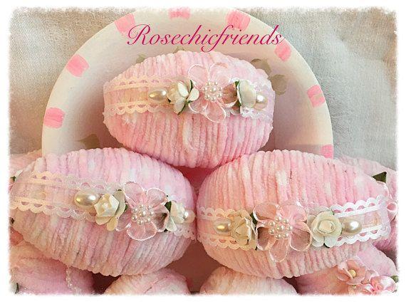 4 shabby 3 rosa Chic ciniglia della sorgente di Pasqua uova