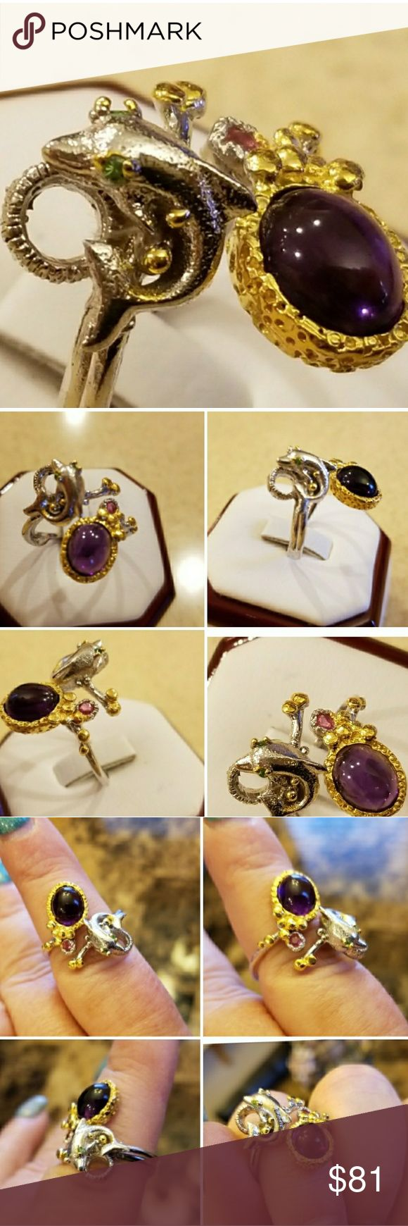 Genuine Amethyst Cabochon Ring Size 9-10 Another Special Designer Favorite!  One of a kind!! Slightly Adjustible.  Set in 925 stamped Solid Sterling Silver and highlighted in 14k Yellow Gold Highlighting the art form.  Notice the Ruby and the fish with tsavorite eyes! Please see all pictures for more detail and measurement. Brand New. Never Worn. WHOLESALE Prices Always!!! Jewelry Rings