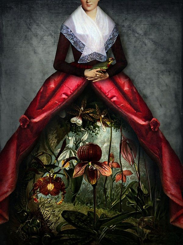 """Graphic designer and mother of two, Catrin Welz-Stein lives and works in Malaysia where she creates stunningly surreal works. Focused on mixed media, she breathes new life into vintage photos by experimenting in Photoshop, taking pictures apart and assembling them into new content. As she told ImageKind, """"A large part of my work is the search for license-free images, illustrations or photos, for which copyright has long expired. Old books, magazines and the Internet are my primary resources…"""