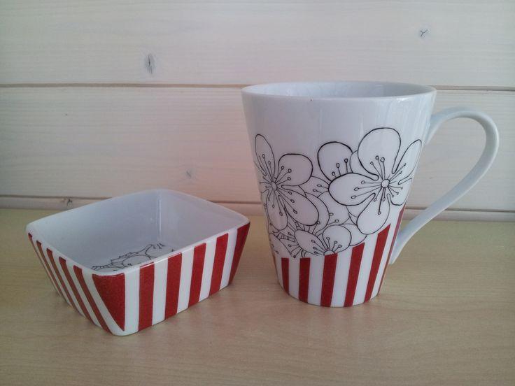 Mug et coupelle carrée en porcelaine, peints à la main