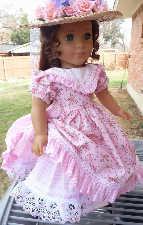 18 Doll Clothes Civil War Era Gown and Hat For by Designed4Dolls
