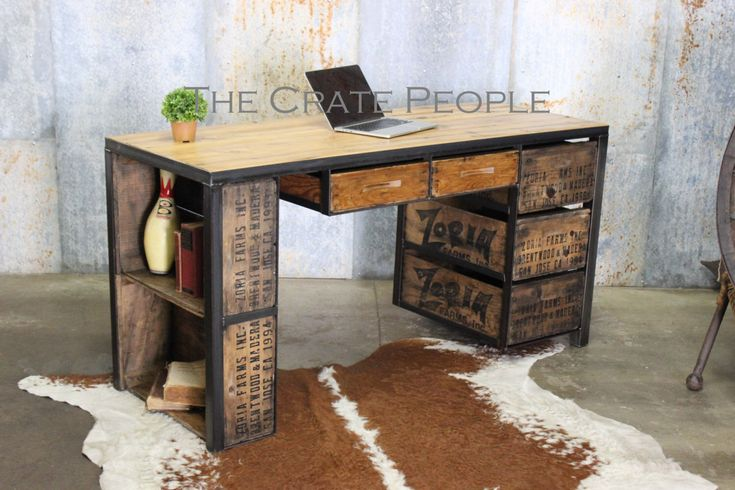 The Zoria Desk with side shelves - Custom Made Furniture - Vintage Crates and Barn Wood by FoundInAttic on Etsy https://www.etsy.com/listing/399747217/the-zoria-desk-with-side-shelves-custom