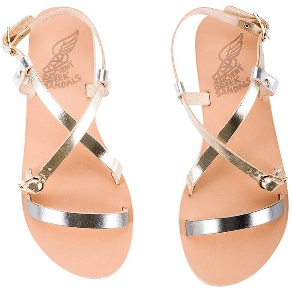 Ancient Greek Sandals - SOFIA Gold & silver leather strap flat sandals ($165) ❤ liked on Polyvore featuring shoes, sandals, flats, flat sandals, flats sandals, criss-cross shoes, crisscross shoes and crisscross flat sandals