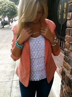 Coral blazer, lace tee, turquoise accessoriesCoral Blazers, Colors Combos, Lace Tops, White Shirts, Colors Combinations, Colors Blazers, White Lace, White Tops, Turquoise Bracelet