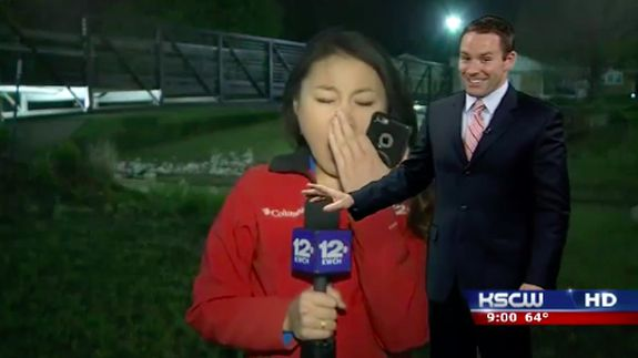 Newscaster's big sleepy yawn interrupts local weather report