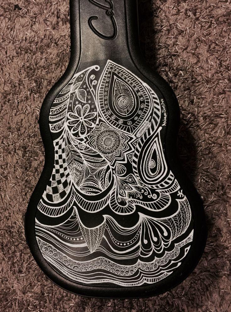 #Guitar case #design #black and #white #zentangle #art #Illustration #KakayaSurfArt