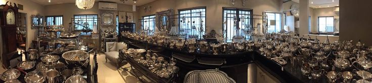 """A very thorough preview of our """"silver room"""". Tea sets, tureens, trays, cutlery, champagne coolers and chandeliers."""