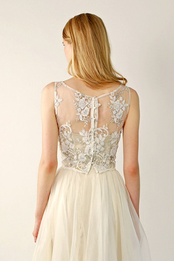 Beaded Lace Wedding Top Separate Fontaine Sleeveless