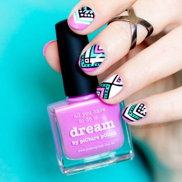 Aztec Nails with Picture Polish Dream: http://sonailicious.com/aztec-nail-design-for-short-nails/