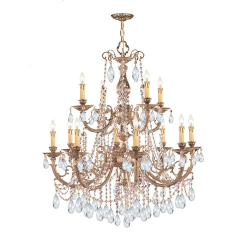 Etta Olde Brass Twelve-Light Crystal Chandelier
