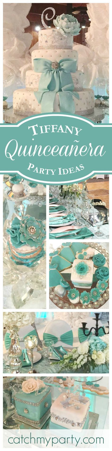 A magnificent Tiffany themed Quinceañera birthday party! The decorations and dessert table are fabulous! See more party ideas at CatchMyParty.com