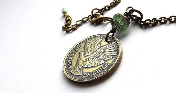 Chilean necklace Coin necklace Bird necklace Animal