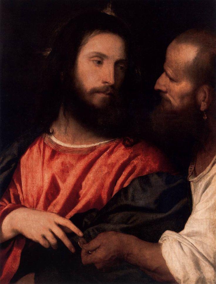 Tiziano, Cristo della moneta, olio su tavola. (75x56 cm), 1516 circa, Gemäldegalerie di Dresda.