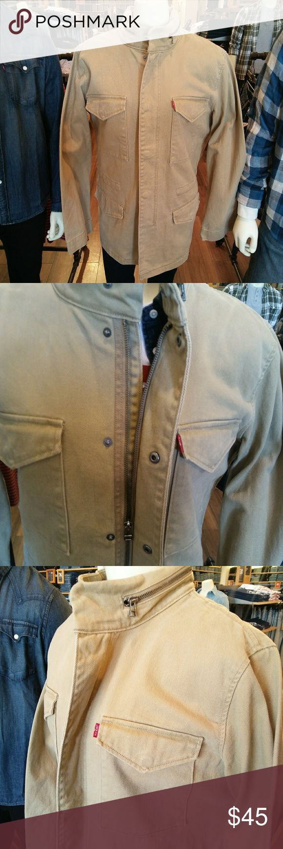Levi's Canvas Khaki Jean Jacket For Sale I Have This Brand New Sz Lg Mens Levi's Canvas Khaki Jacket. Heavy Duty Construction With Hoodie Made Into Collar. Jacket Retails For $69.99 Levi's Jeans