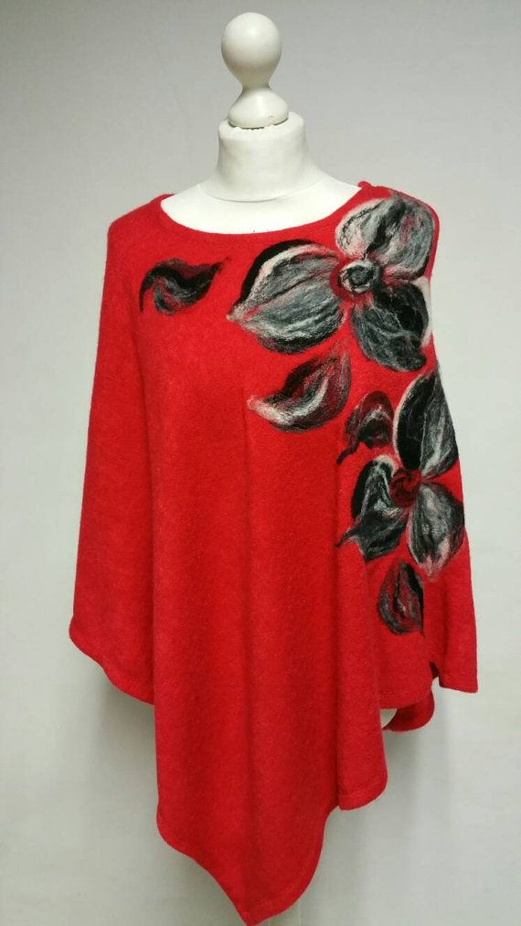 Red Poncho,Wool Cape with Flowers, Jacket, Tunic, Needle Felted, Gift Idea, Free Shipping!