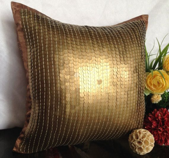 Gold Sequins Pillow Gold Decorative pillow by TheWhitePetalsDecor