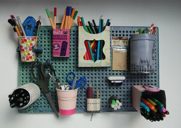 Craft supplies on the wall