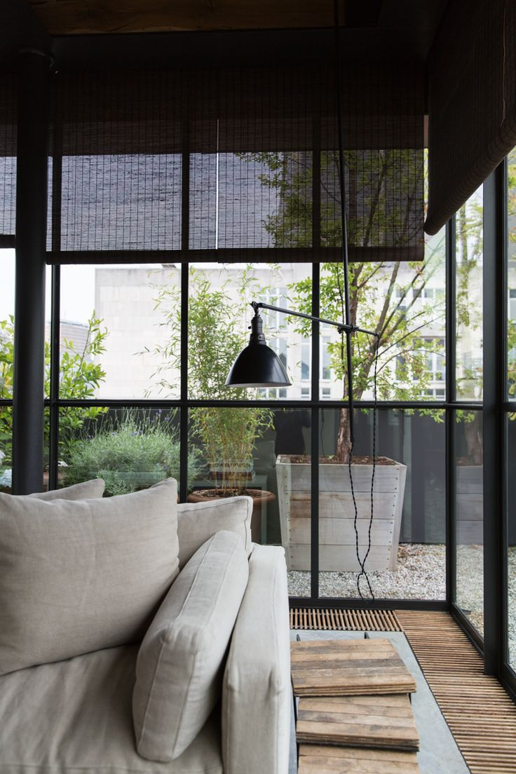 view on the urban terrace garden from the living room // the apartment in antwerp