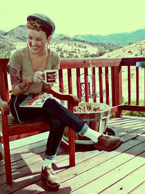 I just love everything about this. Shoes, hair, pants, mug, tattoo, lighting, i could go on....