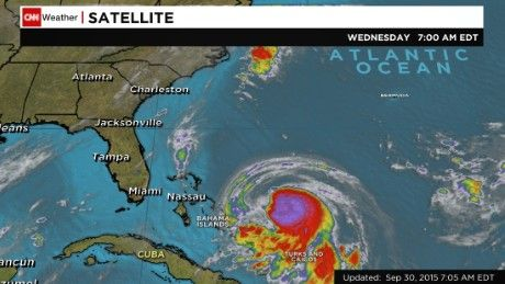 Joaquin strengthened into a Category 1 hurricane in the Atlantic on Wednesday. In the United States, people along the East Coast are keeping a watchful eye.