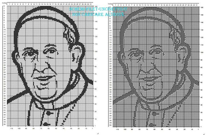 Il volto di Papa Francesco schema filet da scaricare gratuitamente 160 x 110 quadretti