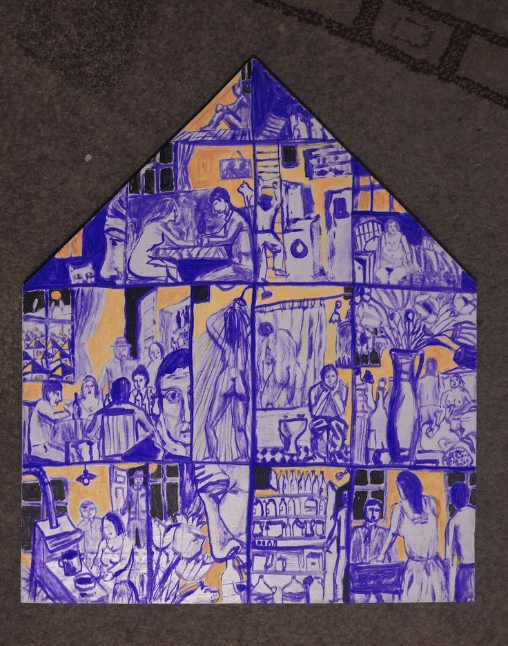 Casa.Ebosa, culori acrilice pe lemn stratificat