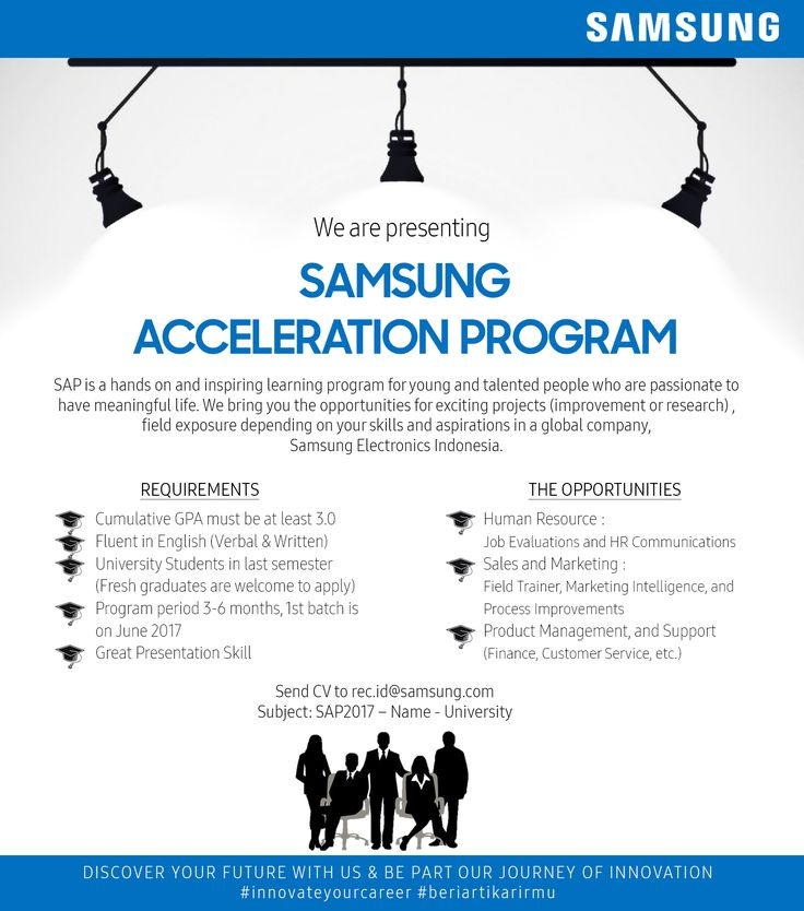JOIN!  Samsung Acceleration Program from Samsung Electronics Indonesia for university stundent >> http://bit.ly/2xAa9JK   DEADLINE: 31 October 2017 #itbcc #karirITB #ITBcareer